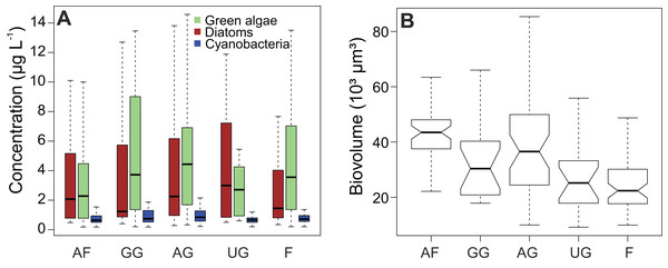 Impact of habitat type on algal concentrations and diatom biovolume.