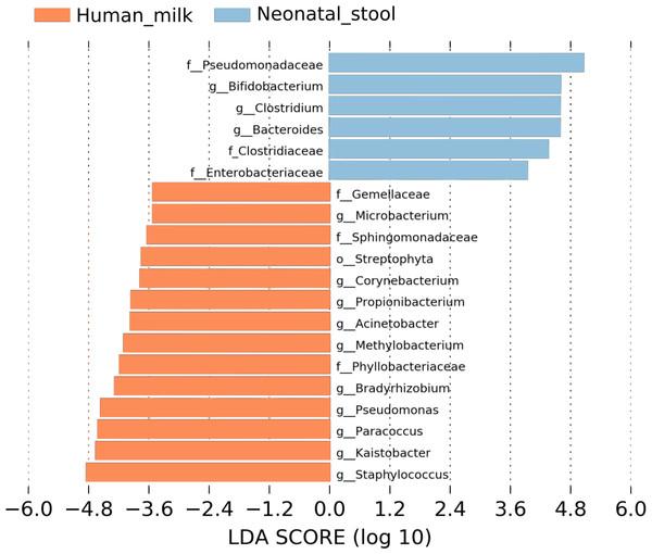 Linear discriminant analysis (LDA) effect size (LEfSe) comparison of differentially abundant bacterial taxa between human milk and neonatal stool.