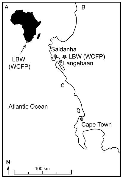 Location of Langebaanweg fossil site.