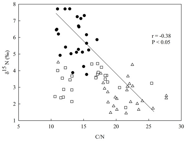 Linear regression between nitrogen isotopic composition (δ15N) and the in-soil C/N ratio in the studied sites at the União Biological Reserve (Rebio União), Brazil.