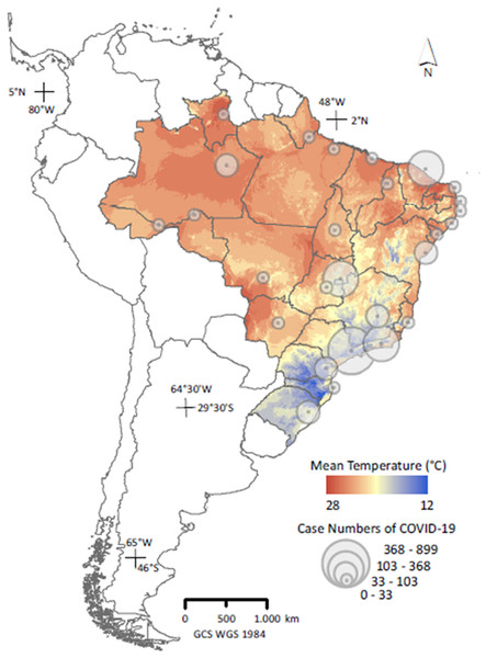 Distribution of counts of confirmed COVID-19 cases across capital cities in Brazil on 26 March, 2020 (n = 27); (Secretarias de Saúde das Unidades Federativas, 2020), superimposed on the country's thermal variability.