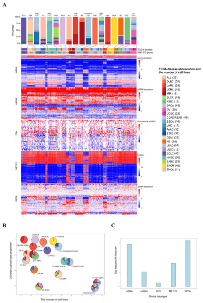 Classification of pan-cancer cell lines based on integrated multiple omics data.