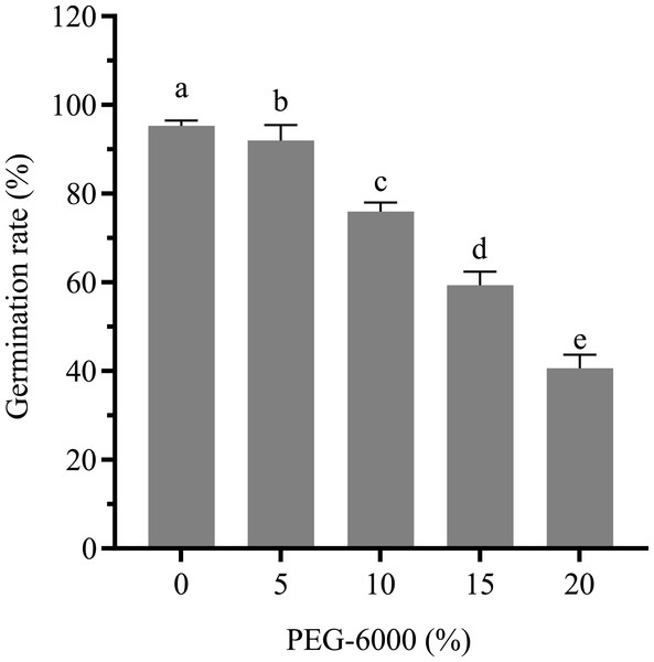 Effects of drought stress on the germination rate of cotton seeds.