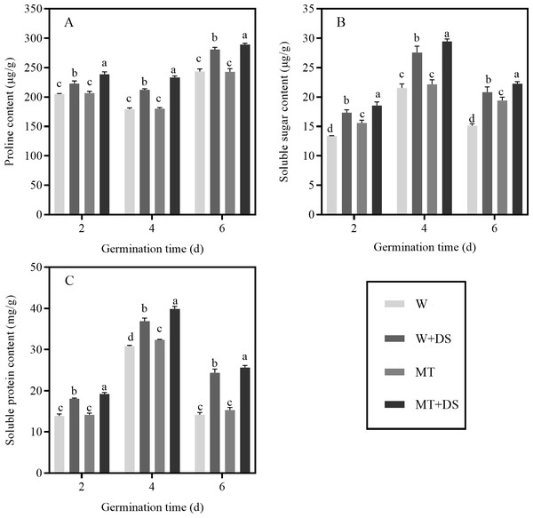 Effects of melatonin treatment on proline (A), soluble sugar (B), and soluble protein (C) content of cotton seeds under drought stress.