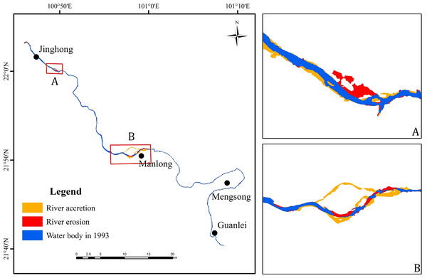 Map of erosion and accretion distribution in the Jinghong to Guanlei reach of LCR between 1993 and 2016.