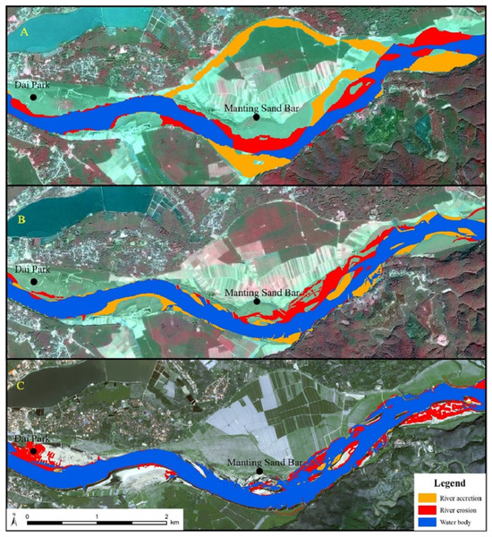 Erosion and accretion in GLB reach from 1993–2016.