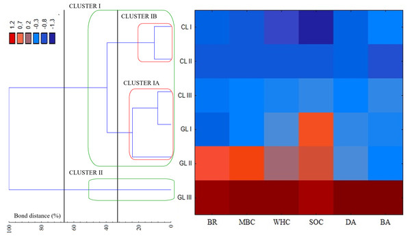Dendrogram and heat map showing the distribution of plots associated with soil quality indicators of cropland and grassland.