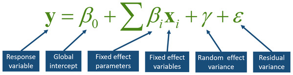 A mathematical and verbal representation of a simple mixed effects model.