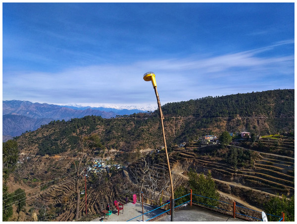 Image of a fox light deployed by regional guardians and researchers at the periphery of human settlements within a village in the Himalaya.