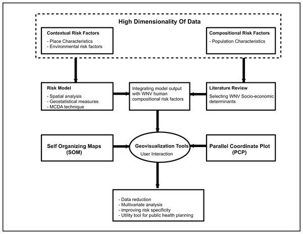 West Nile Virus risk and susceptibility geovisualization modeling framework.