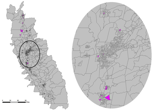 Census tracts, highlighted in pink, within 1-standard deviation ellipse that are in the same cluster that contains more than one census tract found in Glenn County.
