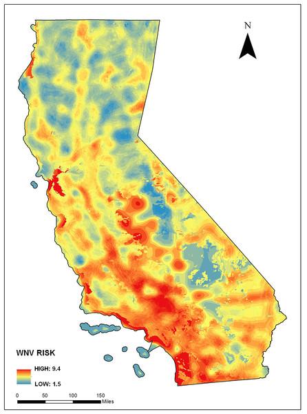 West Nile Virus (WNV) risk based on environmental context modeling (i.e., mosquito habitat risk).