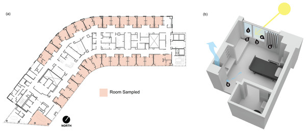 Floor plan and rendering of a typical patient room at the Oregon Health and Science University hospital.
