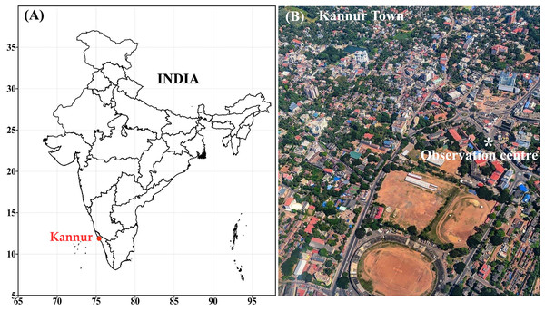 (A) Kannur in South India (B) aerial view of Kannur town and the observational site.