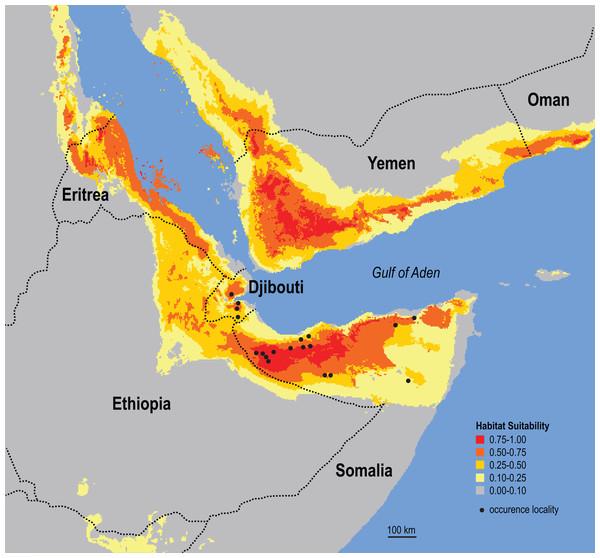 Ecological niche model for the Somali Sengi.