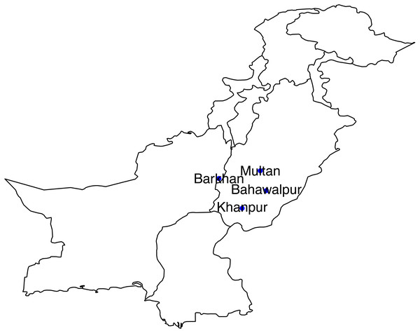 Geographical presentation of selected stations of Southern Pakistan.