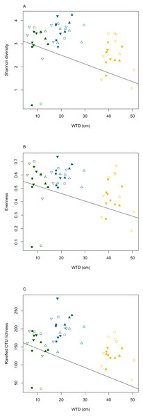 Diversity measures (Shannon diversity - A, evenness - B and rarefied OTU richness - C) plotted against water table depth (WTD (cm)).