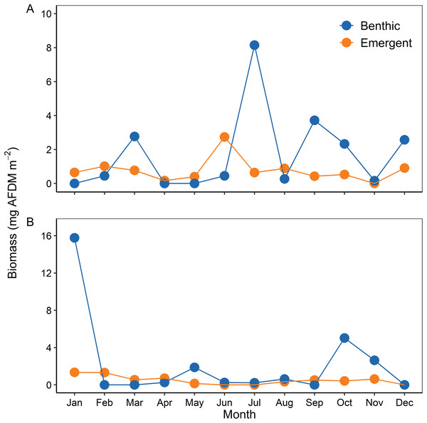 Temporal variability of benthic and emerging adult biomass during (A) 2002 and (B) 2003.