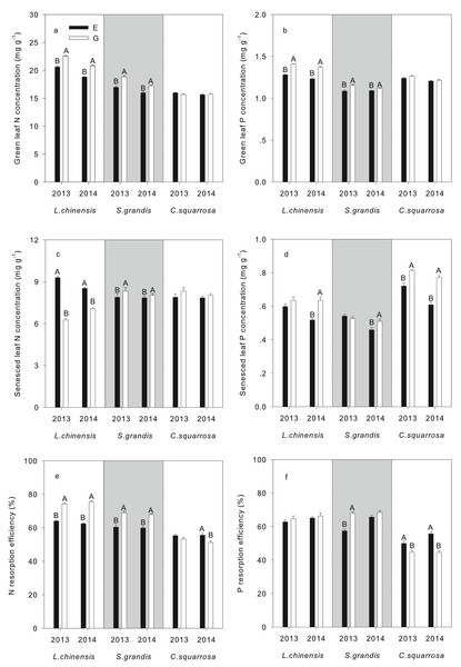 Nitrogen concentrations, nitrogen and phosphorus resorption efficiency of three dominant species from typical steppe of Inner Mongolia in grazing exclusion and overgrazing both in 2013 and 2014.