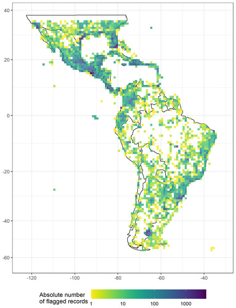 The absolute number of records flagged as erroneous or unfit by automated geographic filters in a dataset of 18 Neotropical taxa including animals, fungi, and plants, plotted in a 100 × 100 km grid across the Neotropics (Behrmann projection).