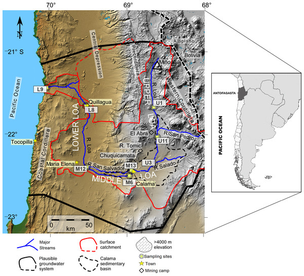 Map of the Loa River Basin located in northern Chile and location of sampling sites.