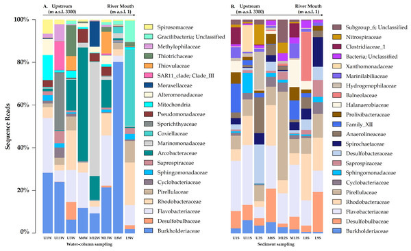 Variation bacterial community composition at all sampling sites along the Loa River.
