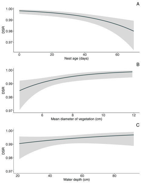 Model-averaged estimates of daily nest survival for Marsh Harrier in eastern Poland showing the effect of nest age (A), mean diameter of vegetation (B) and water depth (C).