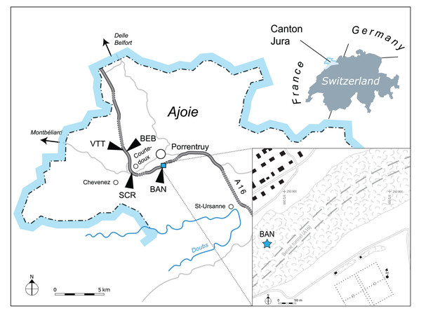 Geographical map of the Ajoie region, Canton of Jura, Switzerland.