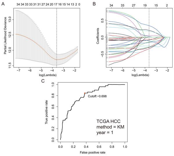 GRGPs selection utilizing lasso model based on TCGA dataset.