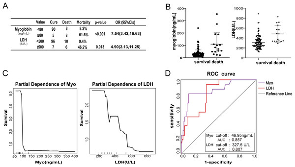 Relationship between clinical characteristics and survival in COVID-19 patients.