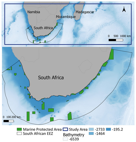 Study area within the southern African region (top: delineated by the blue line) and the South African EEZ and associated MPAs magnified.