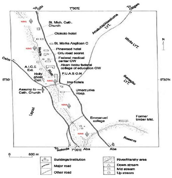 Map showing Nworie River (Chukwuma, Nwokedi & Noah, 2015 with slight modification).