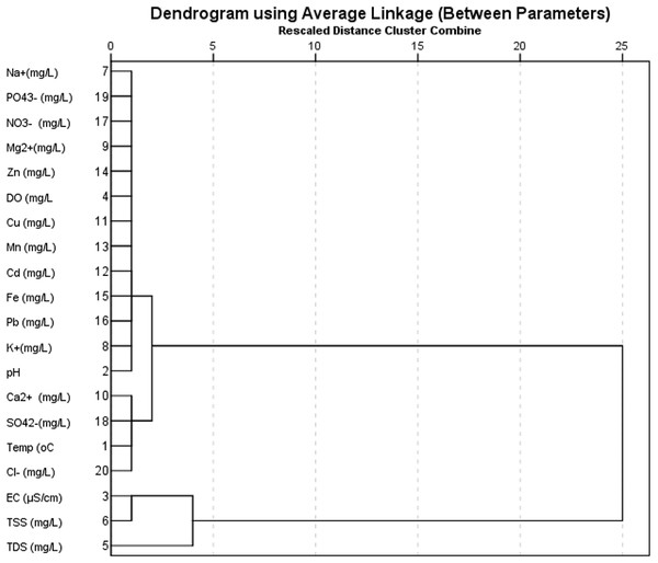 Dendrogram of physicochemical and ionic properties.