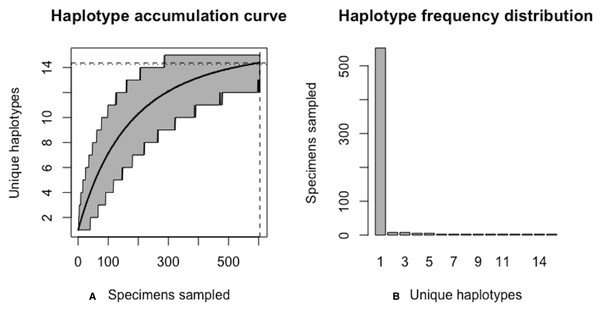 Final graphical output of HAC.sim() for Lake whitefish (C. clupeaformis) having a single dominant haplotype.