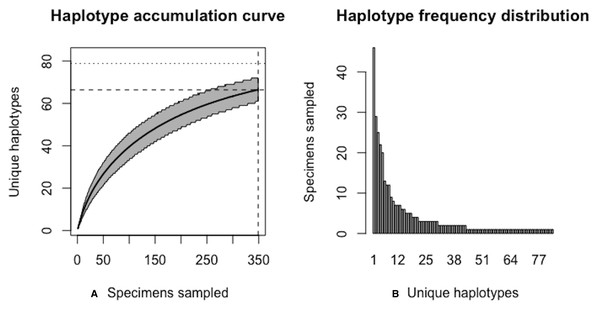 Initial graphical output of HAC.sim() for a real species (Deer tick, I. scapularis) having eight dominant haplotypes.