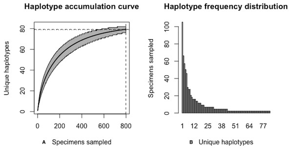 Final graphical output of HAC.sim() for deer tick (I scapularis) having eight dominant haplotypes.