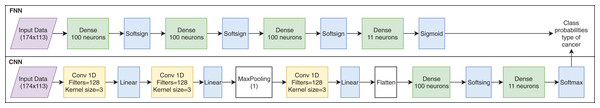 Artificial neural network architectures used for cancer classification.