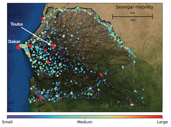 Map of Senegal with major cellular communication towers: these are the nodes in our human mobility networks.