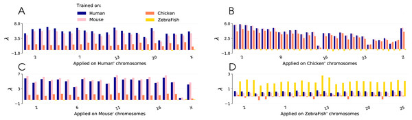 Lambda scores obtained with CNN trained on four different species: human, mouse, chicken and zebrafish.