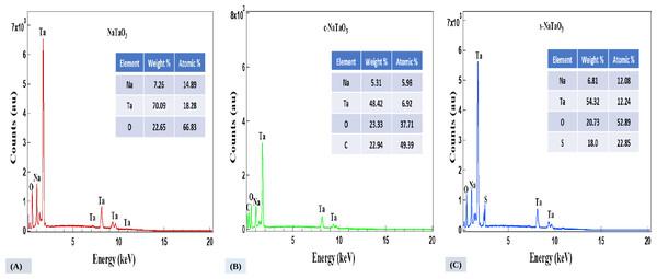 EDS spectra of NaTaO3 (A), c-NaTaO3 (B), and s-NaTaO3 (C), respectively.
