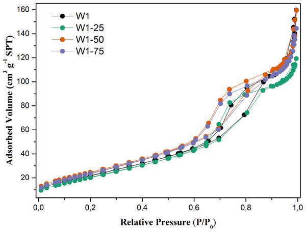 N2 adsorption–desorption isotherms obtained for the studied photocatalysts.