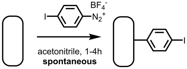 The aryl diazonium salt 4-iodobenzenediazonium tetrafluoroborate reacts spontaneously with freshly cleaned Au surfaces to yield an aryl iodide-functionalized surface.