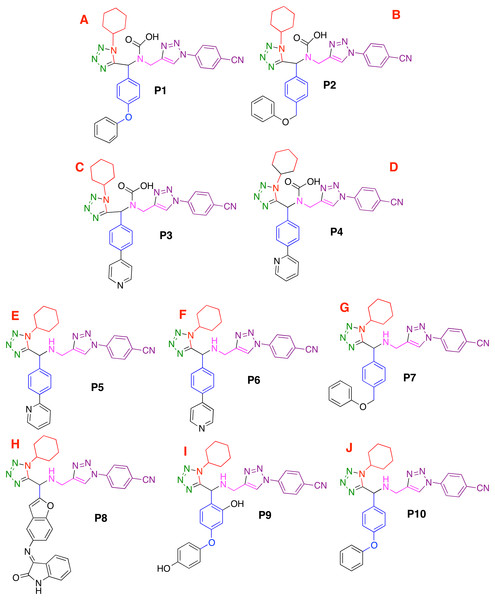 Designed compounds that present favorable interactions with the CoV-2-MPro protein.