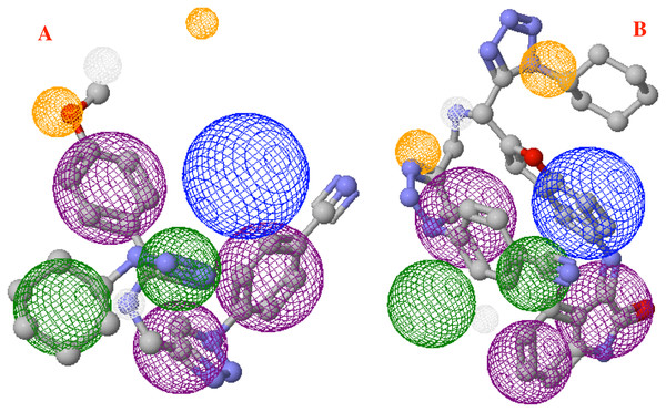 Main molecules overlap into the pharmacophore model for the CoV-2-MPro protein.