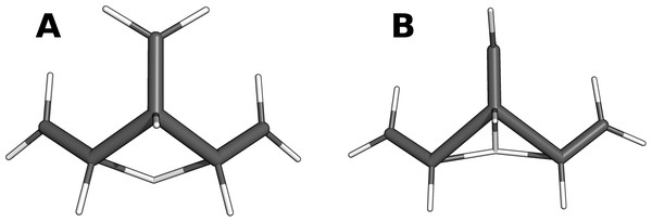 Comparison of the TS located (A) searching for the TS of reaction 84 (B).