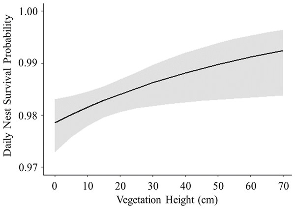 Logistic exposure model showing impact of vegetation height on nest survival probability.