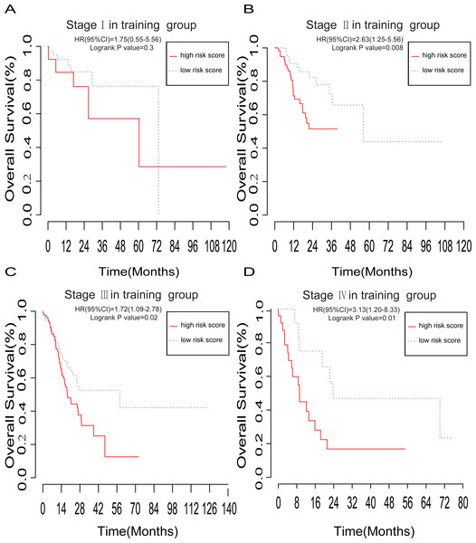 The prognostic value of lncRNA-based risk model in subgroups according to the TNM stage.