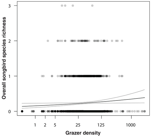 Correlation between overall songbird species richness (numbers of all songbird species per survey per grid cell) and grazer density (numbers of pooled GPS positions of horses and cattle per grid cell for the last 30 days prior to a bird survey).