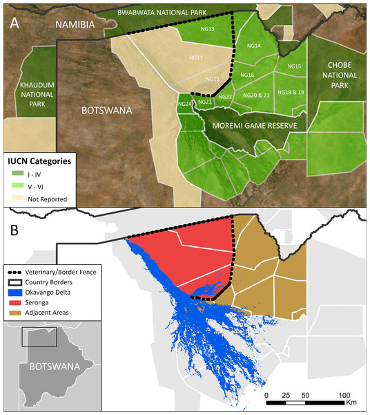 Maps to illustrate administrative and natural boundaries in Ngamiland, northern Botswana.
