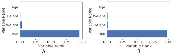 Feature rank of gradient boosting regression model for the girls and boys sets. The figure shows clearly that BMI value in both girls and boys models has the most influence power to the learned models towards predicting the fat percentage.
